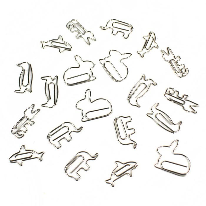 Creative Small Animals Shape Paper Clip - Silver (20PCS)Lifestyle Gadgets<br>Form  ColorSilverMaterialStainless steelQuantity20 DX.PCM.Model.AttributeModel.UnitPacking List20 x Paper clips<br>