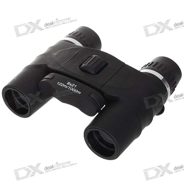 Compact 8x21 Pocket Binocular Telescope with Carrying Pouch
