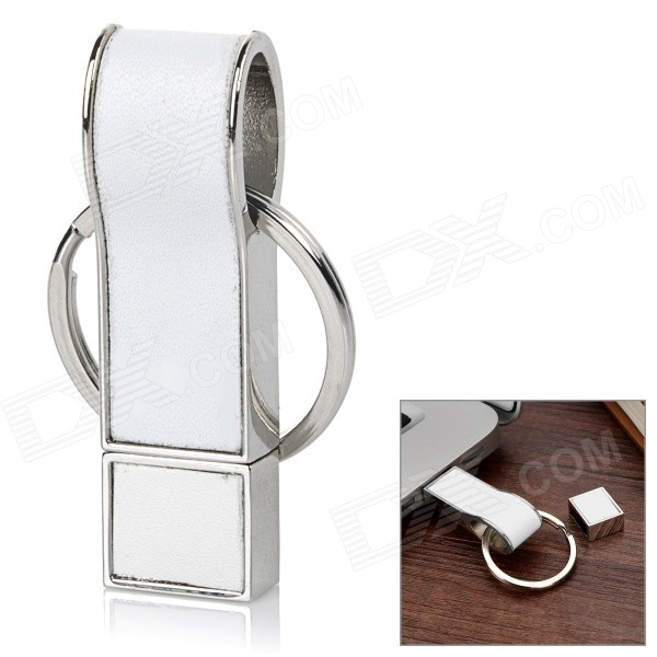 USB-6 Whistle Style 8GB USB 2.0 Flash Drive w/ Keyring - White+Silver
