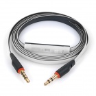 3.5mm Male to Male Flat Audio Cable w/ Mic for Mobile Phone / Tablet + More - White + Black (120cm)