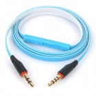 3.5mm Male to Male Flat Audio Cable w/ Mic for Mobile Phone / Tablet + More - White + Blue (120cm)