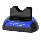 "USB 3.0 2.5"" / 3.5"" SATA / IDE Dual HDD Docking Station + EU Plug Power Adapter - Black + Deep Blue"