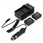 1550mAh Battery, US Plugss Charger, Car Charger for GoPro 3+ / 3 - Black