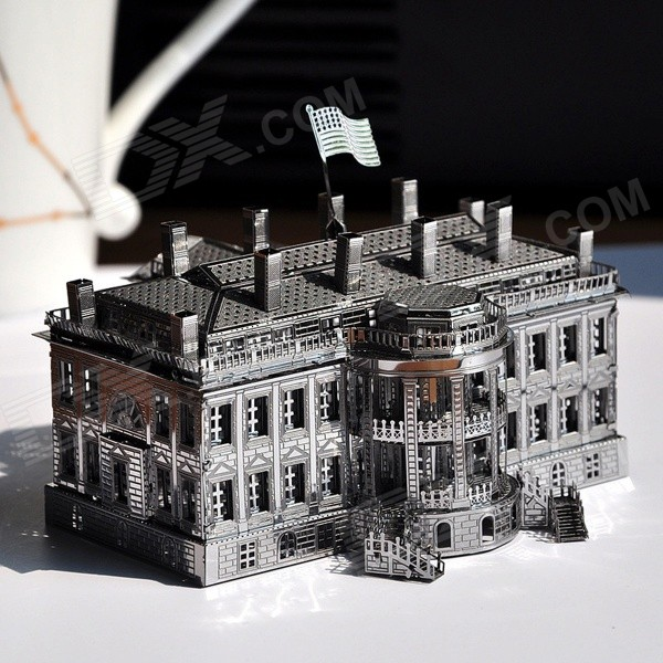 Diy The White House 3d Puzzle Jigsaw Toy Silver Free