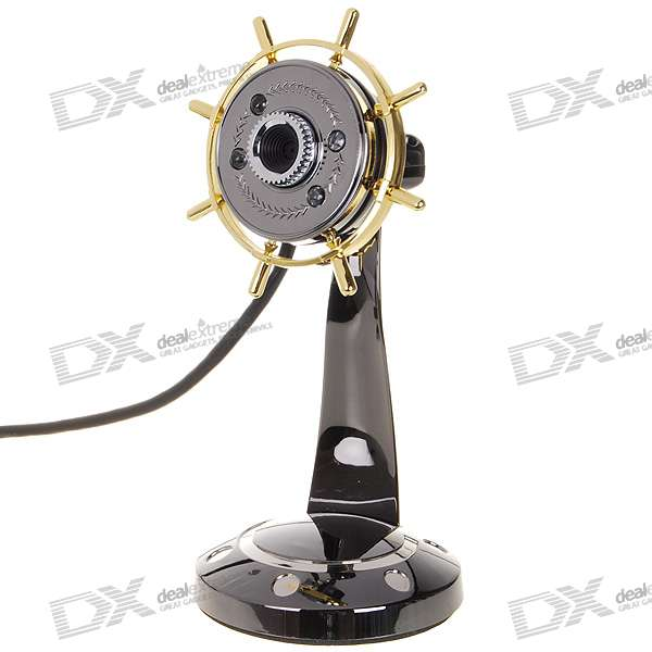 Stylish Metal Body Structure 1.3MP 4-LED PC USB 2.0 Webcam with Brightness Control