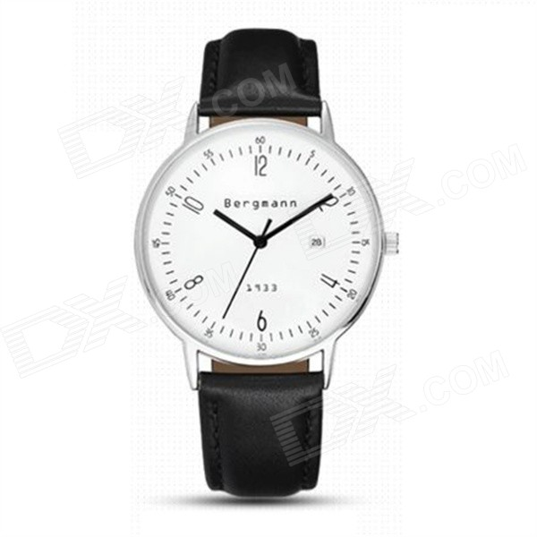 Bergmann 1933 Classic Unisex Analog Quartz Watch -Black + Silver
