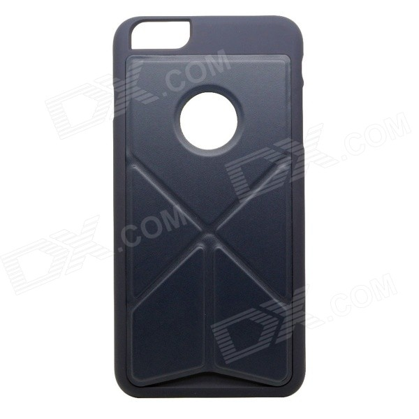 Plastic + PU Back Case w/ Stand for IPHONE 6 PLUS - Dark Blue