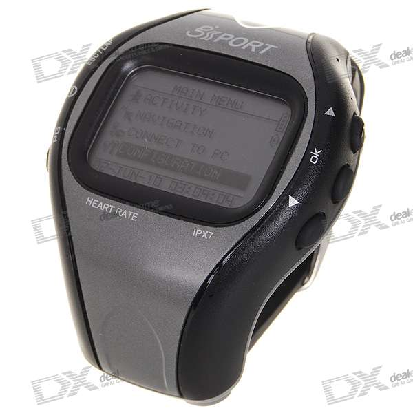 """GH-625M 1.5 LCD Sports Training Waterproof Wrist Watch GPS with Heart Rate MonitorSport Watches<br>It is adopted for people who exercise for broad kinds of outdoor sport such as Jogging Running Biking Snow skating etc. - 1.5"""" LCD display with backlight for instant GPS information - Built-in SiRF Star III high performance GPS chipset. Excellent sensitivity for fixing the position even at a weak signal status - Number of Waypoints: 100 - Tracking point: 60000 - Laps: 6000 - WAAS / ENGOS support - Navigation: Tracking your route as crumb method; mark and save your tracking points by special algorithm; find the specified location. - With Heart Rate Monitor Sensor - Support Google Earth file format - Calories calculation - Track Back: Giving you a reference route according to your activity before to get better performance of training - Recording all history of self-training by defined day - Embedded high capacity flash memory to store the plenty of data - Waterproof (IPX7) and rigid design to avoid damaging with carelessness - The firmware can be upgraded through PC - Built-in rechargeable 660mAh lithium-ion battery - Package included: - 1 * GPS wrist watch - 1 * Heart rate monitor - 1 * Extended watch band - 1 * Screwdriver - 1 * USB cable - 1 * Bike holder mount - 1 * Software CD - 1 * English user manual<br>"""