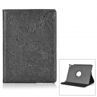 360' Rotatable Protective PC + PU Leather Flip Open Case w/ Stand for IPAD AIR - Black