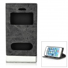 Protective Magnetic PU Leather Flip Open Case w/ Dual Display Window for IPHONE 5 - Black Grey