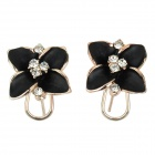 Stilvolle Blume Stil Messing vergoldet Ohrclip - Schwarz + Rose Gold (2 PCS)