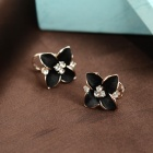 Women's Flower Gold Plated Brass Ear Clip - Black