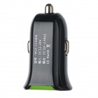 SZWLX 2.4A 5V Dual-USB Mini Car Charger - Black + Green