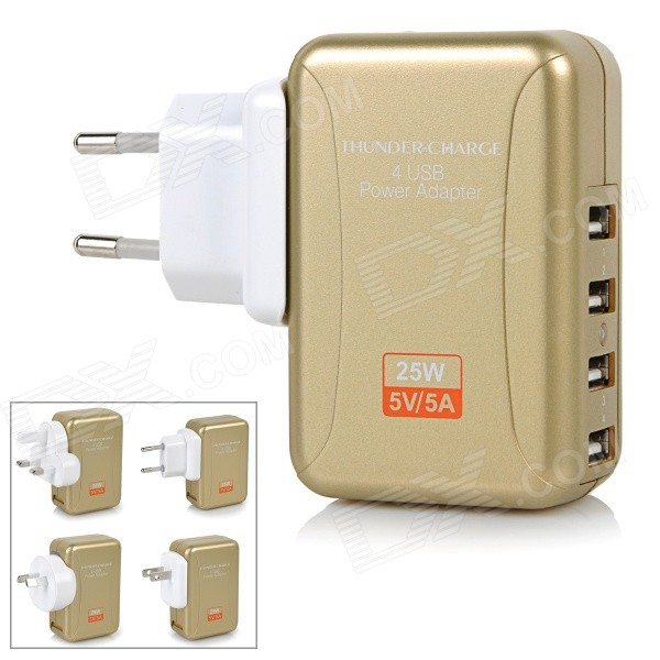 4-Port intercambiáveis ​​Energiaadaptador Plugs para dispositivos móveis - Golden