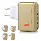 25W 5V 5A 4-Port USB Power Adapter w/ UK / EU / US / AU Plug - Golden (100~240V)