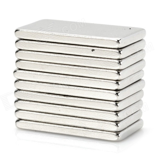 NdFeB N35 Rectangle Shaped Magnets - Silver (20*10*1.7mm/10PCS)