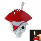 Skull Pirate Style Zinc Alloy Windproof Butane Gas Lighter - Red + Silver