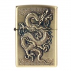 Antique Dragon Pattern Copper Zinc Alloy Oil Lighter - Antique Brass