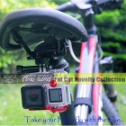 Fat Cat Outdoor Cycling Bike 2-Rail Saddle Seat Mount for GoPro Hero 4 / 3 / + More - Golden