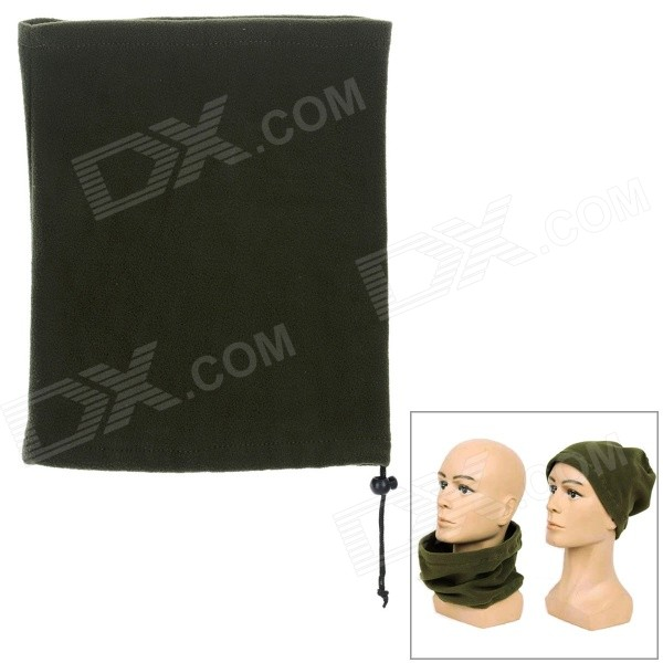 Multifunctional Fleece Hat / Face Mask / Neck Warmer Scarf - Green