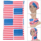 Outdoor Multi-Function US Flag Pattern Polyester Seamless Head Scarf - Red + Blue