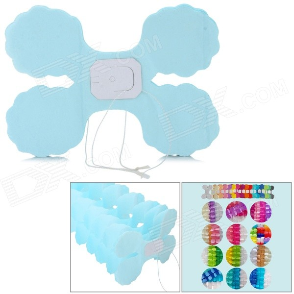 Four Leaf Clover Style Paper Flower Decoration - Light Blue