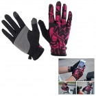 NatureHike Breathable Full-Finger Touch-Screen Cycling Gloves - Black + Deep Pink (M / Pair)