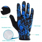 NatureHike Full-Finger Cycling Gloves - Black + Blue (M / Pair)