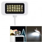 Rechargeable 11400K 52lm Cool White 21-LED Fill Light Flash Lamp for Cellphone - White