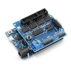 Micro USB Socket UNO R3 ATmega328P Development + Sensor Shield V5.0 Expansion Board for Arduino-Blue
