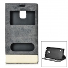 Magnetic PU Leather Full Body Case w/ Dual Display Windows for Samsung Galaxy S5 - Blackish Grey