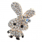 Rhinestone-studded Cute Rabbit-shaped Brooch - Silvery White + Black