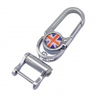 UK Flag Style Stainless Steel Keychain - Silver
