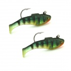 KDR504 Fish Style Fishing Baits w/ Hooks - Green (5cm / 2 PCS)