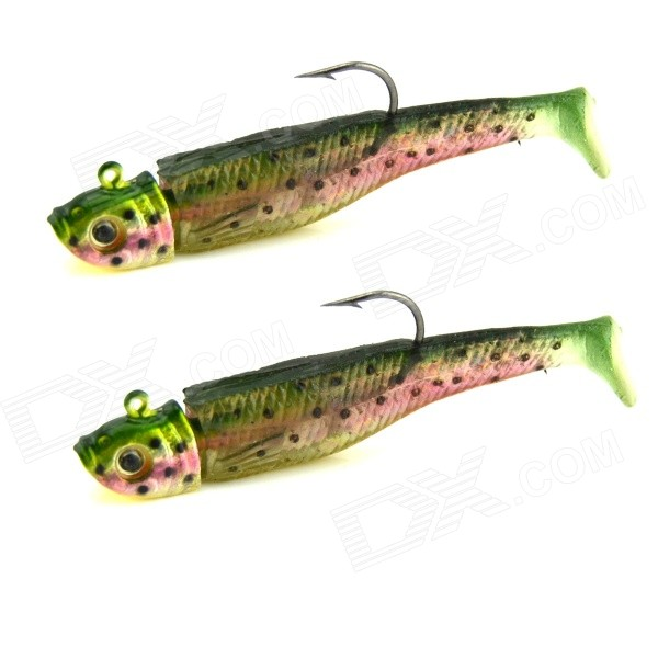 KDR506 Fish Style Fishing Baits w/ Hooks - Green + Red (6cm / 2PCS)