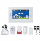 "7"" LCD Touch Control Keypad Wireless Home Security Alarm System - White (EU Plug)"