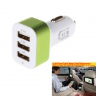 5.1A 3-USB 2.0 Car Charger Power Adapter - White + Green (12~24V)