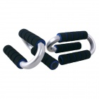 POVIT PS-2207 S-Type Fitness Push Up Frame Arm Muscle Training Bar Set - Black + Blue + Silver