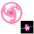 Plastic Hand Pull Line Flywheel Toy w/ Light for Children - Deep Pink