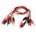 DIY Banana Plug to Alligator Clip Test Probe Cable - Black + Red (5 PCS)