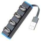 480Mbps Long Shaped USB 2.0 4-Port Hub w/ Blue Light - Black