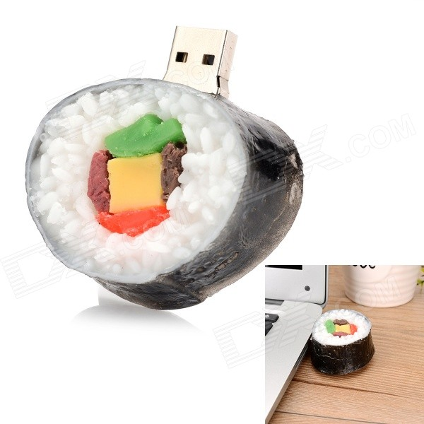 USB-SI Creative Sushi Style USB 2.0 Flash Drive - White + Black (8GB)