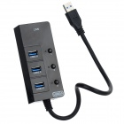 BYL-930H High Speed USB 3.0 3-Port Hub w/ Built-in Network Adapter + Switch - Black