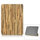 Wood Pattern Protective PU Case w/ Stand for IPAD AIR 2 - Khaki + Brown