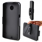 PC Back Case w/ Stand / 360' Rotation Clamp for Google Nexus 6 - Black