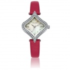 VILAM V1021L Women's Heart-Shaped PU Band Quartz Watch - Red + Silver