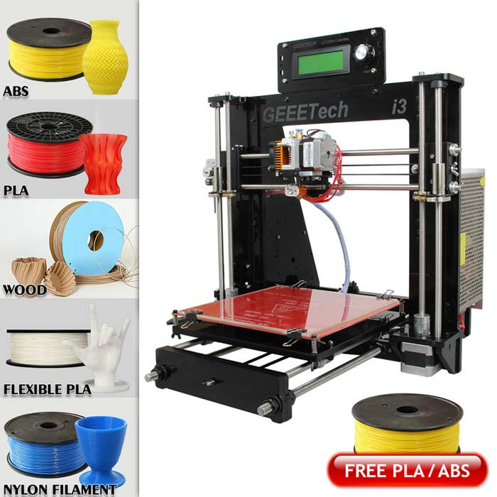 Geeetech I3 3D Printer Kit Support 5-Filament Free PLA - Black