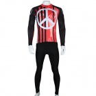 Paladinsport Men's Anti-War Logo Pattern Long-Sleeved Cycling Jersey + Pants Set - Red + Black (S)