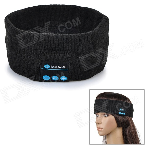Rechargeable Flexible Sports Bluetooth Wide Head Band w/ Mic - Black