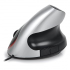 5D Ergonomic Design USB 1600dpi Optical Vertical Mouse -Black + Silver
